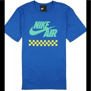 NIKE Futura Checks T-Shirt Blue Nebula Yellow Max